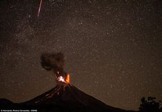 Mr Cervantes also managed to capture this night-time image above of lava spilling from the erupting volcano