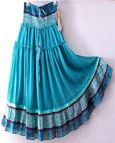 Teal long boho skirt/dress