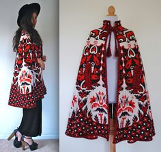 Vintage 60s 70s Queen of Hearts Red Black and by littlelightVTG, $125.00