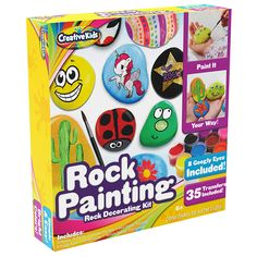 Rock Painting Outdoor Activity Kit for Kids – DIY Art Set w/ 10 Hide and Seek Stones, 12 Acrylic Paint Tubes & 2 Brushes – Fun Googly Eyes, Easy Transfer Design for Boys & Girls: Toys & Games Golf Games For Kids, Outdoor Activities For Kids, Kids Golf, Rock Painting Ideas Easy, Painting For Kids, Painting Art, Craft Kits For Kids, Diy For Kids, Diy Wind Chimes