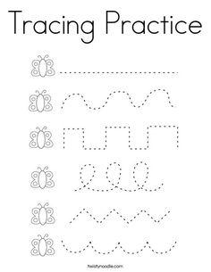 Tracing Practice Coloring Page - Twisty Noodle Tracing Practice Preschool, Preschool Activity Sheets, Printable Preschool Worksheets, Preschool Writing, Tracing Worksheets, Preschool Learning Activities, Free Preschool, Colors For Toddlers, Kindergarten Homeschool Curriculum