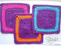 Good square for a charity blanket - Stitch11 Square Crochet Washcloth -Free Crochet Pattern