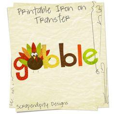 Iron on Thanksgiving Shirt PDF - Gobble Iron on Transfer / Kids Boys Turkey Shirt / Thanksgiving Outfits Baby Girl / Gobble Dress IT310-C