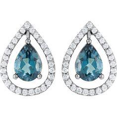 Genuine London Blue Topaz & 1/3 ct tw Diamond Earrings.  #calhounsjewelers