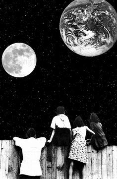 ☀ luna tierra niños byn no entiendo nada