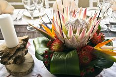 Using Art and Crafts in African Decor Wedding Flower Arrangements, Floral Centerpieces, Wedding Centerpieces, Floral Arrangements, African Wedding Theme, African Theme, Tent Decorations, Wedding Decorations, Zulu Wedding