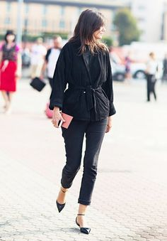 Belt your jacket to add shape to a monochromatic look