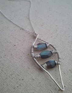 Silver Labradorite Ladder Pendant Necklace by cristysjewelry, $62.00