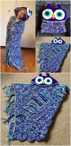 This Crochet Owl Hooded Blanket went viral and is it any wonder. You will love this exciting pattern. Crochet Owl Blanket Pattern, Owl Crochet Patterns, Crochet Owls, Crochet Quilt, Baby Blanket Crochet, Baby Patterns, Crochet Afghans, Crochet Blankets, Baby Blankets