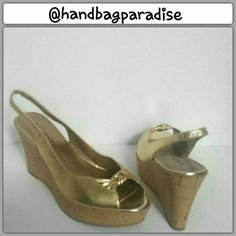 Limited Time $13 Metallic Gold Wedges Metallic Gold leather wedges with a platform front. This shoe has a cork wedge, really cute sling back shoe. Shoe in used but great condition only worn once. Reg. $18 Shoes Wedges