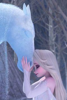A Frozen 2 wallpaper of Nokk, the guardian of the Dark Sea, and Elsa sharing a sentimental moment. Disney Princess Pictures, Disney Princess Quotes, Disney Princess Frozen, Disney Princess Drawings, Disney Pictures, Disney Drawings, Elsa Frozen Pictures, Disney Princesses, Disney Wallpaper Princess
