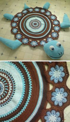 [Free Crochet Pattern] This sea turtle rug would be an amazing summer decor for the house