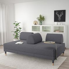 IKEA - FLOTTEBO, Sleeper sofa with side table, Gunnared medium gray, This sofa is comfortable regardless if you want to sit, lean back or lie down. The loose back cushions make it easy to adjust the seat depth and the back support. Sleeper Sofa Mattress, Mattress Covers, Canapé Convertible Ikea, Sofa Bed Frame, Mesa Sofa, Canapé Design, Boho Living Room, Ikea Bed