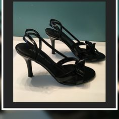 """Angelina by Alisha Hill Black Patent Leather Bow Angelina by Alisha Hill Black Patent Leather Bow Slingback  3 1/2"""" heel  *Non-slip sole  Great condition worn once ... I no longer have the box..... Size 7M Alisha Hill Shoes Heels"""