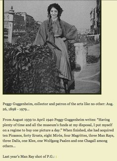 Peggy Guggenheim.  Photo by Man Ray.