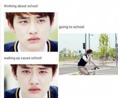 That kyungsoo, is one of the most disapproving look next to Chenderella's face when he dropped his  in exo Showtime...XD