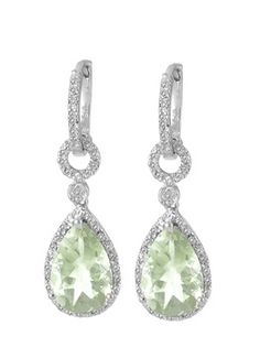$34.99 - 6.5 Carat Green Amethyst and 1/10 Carat Diamond Earrings in Silver