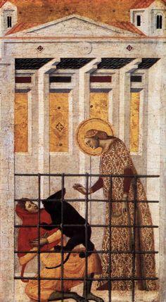 Giovanni Baronzio  (attivo 1326- 1362) - Scene della Vita di Santa Colomba: S. Colomba salvata da un orso, dettaglio - 1340 - Tempera su tavola - Pinacoteca di Brera, Milano