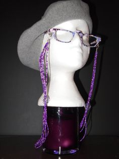 Purple beaded Eyeglass Chain by TheFACEspace on Etsy, $10.00