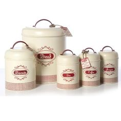 Gingham Vintage Retro Cream Red Tea Coffee Sugar Bread Bin And Biscuit Storage Caddy Set