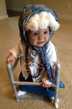 Baby as granny, Halloween 2014!