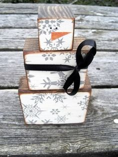 Snowman Blocks - good way to use up some unmounted wood blocks