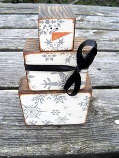 Snowman Blocks - good way to use up some unmounted wood blocks