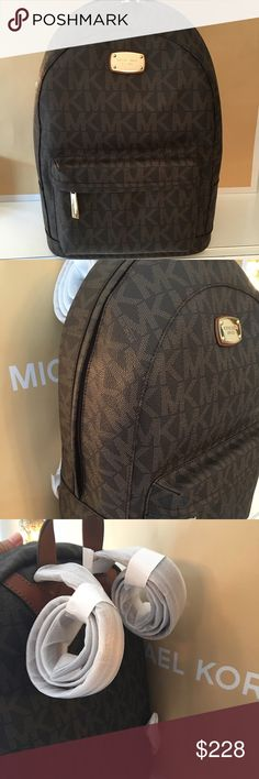 MICHAEL KORS NEW XLARGE BACKPACK 100% AUTHENTIC MICHAEL KORS NEW NEVER USED WITH TAGS HANDLE / SHOULDER BAG  100% AUTHENTIC. STUNNING AND ALWAYS FASHIONABLE BAG . PERFECT FOR ANY OCCASION. VERY ROOMY BAG THAT CAN FIT ALL OF YOUR ITEMS. THIS BAG MEASURES 11 INCHES WIDE WIDE BY NEARLY 8 INCHES TALL AND 7 INCHES DEEP. THE HANDLES HAVE A 6 INCH DROP AND AND COMES WITH A LONG ADJUSTABLE AND REMOVABLE CROSSBODY/ SHOULDER STRAP. THIS BAG ALSO HAS METAL FEET ON THE BOTTOM TO KEEP THE BAG CLEAN…