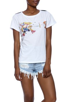Lightweight boat neck t-shirt printed with Brazilian graffiti art by BIOFA.Features a crew neck and a solid black back.   Graffiti Print Tee by ALLEZY. Clothing - Tops - Graphic Tees Clothing - Tops - Short Sleeve Clothing - Tops - Tees & Tanks Florida