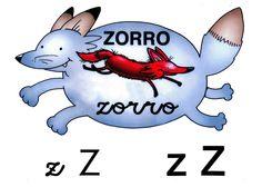Letra z minúscula, Z mayúscula. Zorro.