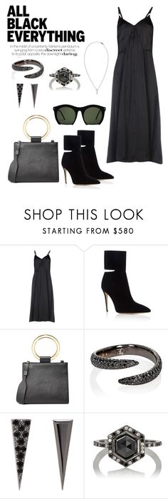 """All Black Everything"" by windrasiregar on Polyvore featuring Alexander Wang, Paul Andrew, Grey Ant, Edie Parker and Eva Fehren"