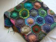 crocheted hexagons - Noro!  Love This!