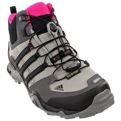 adidas Outdoor Terrex Swift R Mid GTX Hiking Boot - Women's Shock Pink/Granite/Black 8 ** Check this awesome product by going to the link at the image. Best Hiking Boots, Hiking Boots Women, Hiking Gear, Trekking Shoes, Hiking Shoes, Running Wear, Adidas Shoes Women, Outdoor Woman, Water Shoes