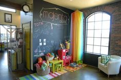 One of my friends had a Chalk Board wall.  the kids loved it, and she would decorate so cute on it sometimes. LOVE.