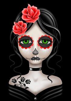 Sad Day of the Dead Girl on Black   Jeff Bartels