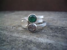 Hand Stamped Stacking Ring With Birthstone