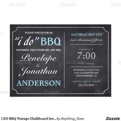 "I DO BBQ Vintage Chalkboard Invitations 5"" X 7"" Invitation Card"