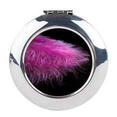 Feather purple Round Compact Mirror  #mirror  #Accessories #compactmirror #feathers #purple