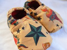 Rockabilly Tattoo Baby Booties size 6 to 12 months #soft sole shoes