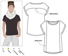 Sewing Top Courtney Top Sewing Pattern By Style Arc - An everyday top with interesting design lines Pdf Sewing Patterns, Clothing Patterns, Vogue Patterns, Vintage Patterns, Vintage Sewing, Pullover Shirt, T Shirt, Plus Sise, Sewing Blouses