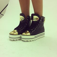 The newest addition to our shoe family! #missguided #shoes #flatforms #trainers #sneakers #fashion #metallic