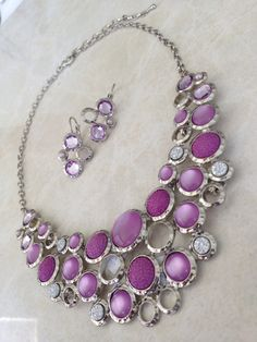 Lilac Crystal Bib and earring set, coming soon to www.julzz.com.