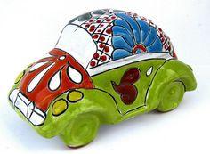 Talavera ceramic car by La Tienda Store at www.latiendastore.com Mexican Home Decor, Paper Clay, Art For Kids, Art Ideas, Pottery, Ceramics, Statue, Rugs, Car