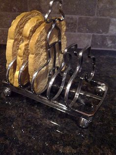 REDUCED Silver Toast Rack with Artificial Bread by maggiecastillo, $15.48