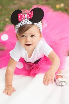 Minnie Mouse Tutu Baby Tutu and puff headband by ChicSomethings, $50.00