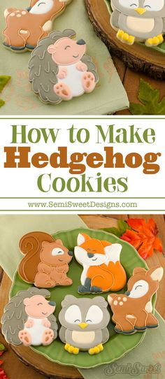 How to Make Hedgehog Cookies - Daily Good Pin Iced Cookies, Cute Cookies, Cupcake Cookies, Sugar Cookies, Cupcakes, Cookie Favors, Flower Cookies, Cookie Icing, Royal Icing Cookies