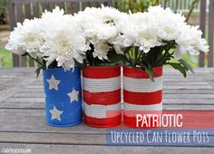 Patriotic Upcycled Can Flower Pots ~ 4th of July Decorations - Mom 4 Real