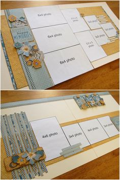 Like the use of paper strips and tags for the borders on Layout 2