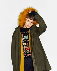 Image 3 of PARKA WITH COLOURFUL FAUX FUR HOOD from Zara