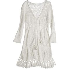 CALYPSO St. Barth Perfa Hand Crochet Cotton Tunic Dress ($495) ❤ liked on Polyvore featuring dresses, white, bohemian style dresses, white dress, boho crochet dress, cotton slip y boho chic dresses